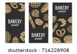 set of bakery engraved elements....   Shutterstock . vector #716228908