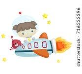 astronaut girl   Shutterstock .eps vector #716233396