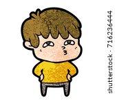 cartoon curious man   Shutterstock .eps vector #716236444