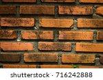 old vintage brick wall... | Shutterstock . vector #716242888