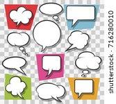 blank speech bubbles drawn in... | Shutterstock .eps vector #716280010