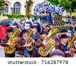 MUNICH, GERMANY - SEPTEMBER 16, 2017: The Oktoberfest is the world biggest beer festival and at the opening parade with rd. 9000 participants take part in historical costumes, music bands and horses. - stock photo
