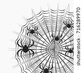 corner spiders on a web pattern.... | Shutterstock .eps vector #716289970
