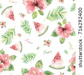 watercolor seamless pattern... | Shutterstock . vector #716292400