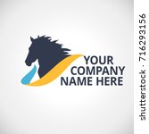 Stock vector company logo with horse silhouette vector illustration 716293156
