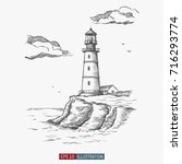 hand drawn lighthouse. template ... | Shutterstock .eps vector #716293774