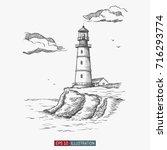 hand drawn lighthouse. template ...   Shutterstock .eps vector #716293774