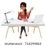 writer home office blogger work ...   Shutterstock .eps vector #716294863