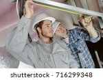 young male electrician with...   Shutterstock . vector #716299348