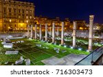 basilica ulpia at night  trajan ... | Shutterstock . vector #716303473