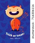 halloween vector poster trick... | Shutterstock .eps vector #716306116