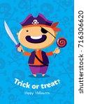 halloween vector poster trick... | Shutterstock .eps vector #716306620