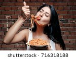 sexy seductive cheeky girl in a ... | Shutterstock . vector #716318188