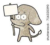 cartoon unsure elephant with... | Shutterstock .eps vector #716320390