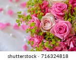 Stock photo floral composition with a pink roses 716324818