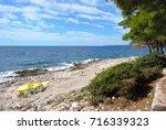 lovely beach at island of brac  ... | Shutterstock . vector #716339323