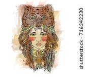 native american indian girl... | Shutterstock . vector #716342230