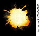 explosion on black background.... | Shutterstock .eps vector #716345803
