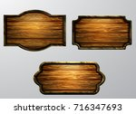 wooden signs  vector icon set | Shutterstock .eps vector #716347693
