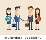 two smiling businessman shaking ... | Shutterstock .eps vector #716350540