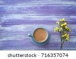 cup of aromatic morning coffee... | Shutterstock . vector #716357074