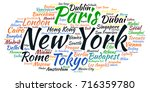 tag cloud about famous cities...   Shutterstock .eps vector #716359780