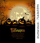halloween background with scary ... | Shutterstock .eps vector #716365594