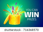 Stock vector open yellow box with colorful particles you can win prizes lottery drawing advertising banner 716368570