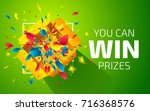 Stock vector open yellow box with colorful particles you can win prizes lottery drawing advertising banner 716368576