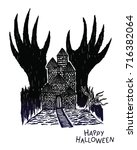 haunted house with devil hand...   Shutterstock .eps vector #716382064