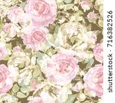 roses and peonies seamless... | Shutterstock . vector #716382526