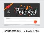 happy birthday typographic... | Shutterstock .eps vector #716384758