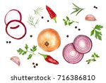 onions  garlic  hot pepper and... | Shutterstock . vector #716386810