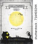 editable halloween party poster.... | Shutterstock .eps vector #716403244