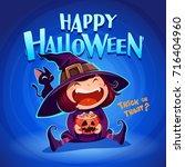 happy halloween. halloween... | Shutterstock .eps vector #716404960