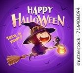 happy halloween. halloween... | Shutterstock .eps vector #716406094