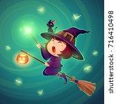 halloween flying little witch.... | Shutterstock .eps vector #716410498