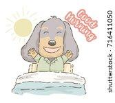 cute cartoon dachshund waking... | Shutterstock .eps vector #716411050