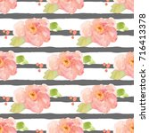 watercolor floral pattern with... | Shutterstock . vector #716413378