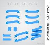 flat light blue ribbons | Shutterstock .eps vector #716419924