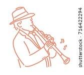 jazz musician with an... | Shutterstock .eps vector #716422294