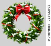 christmas wreath with red... | Shutterstock .eps vector #716423938