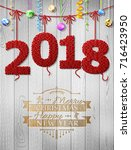 new year 2018 knitted fabric as ... | Shutterstock .eps vector #716423950