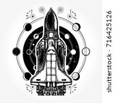 space ship and universe tattoo...   Shutterstock .eps vector #716425126
