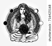 magic woman tattoo and t shirt... | Shutterstock .eps vector #716425168