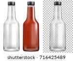 glass sauce ketchup bottles... | Shutterstock .eps vector #716425489