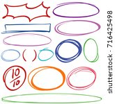 different hand drawn correction ... | Shutterstock .eps vector #716425498