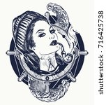 woman sailor tattoo and t shirt ... | Shutterstock .eps vector #716425738