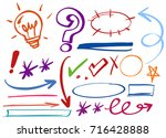 different correction marks on... | Shutterstock .eps vector #716428888