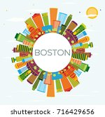boston skyline with color... | Shutterstock .eps vector #716429656